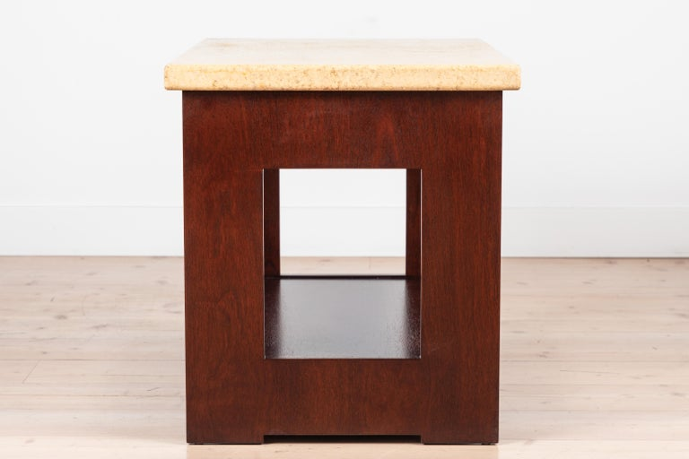 Cork and Mahogany Side Table Side Table by Paul Frankl For Sale 2