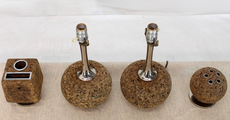 Mid-Century Modern Cork Desk Tools Lamps For Sale