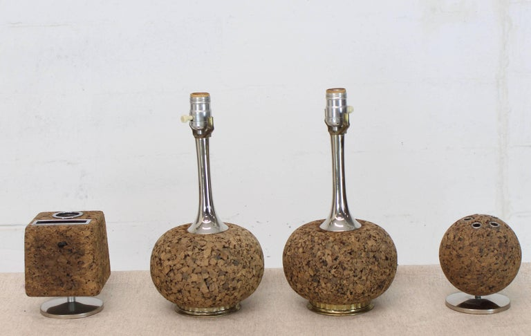 Cork Desk Tools Lamps In Excellent Condition For Sale In Blairstown, NJ
