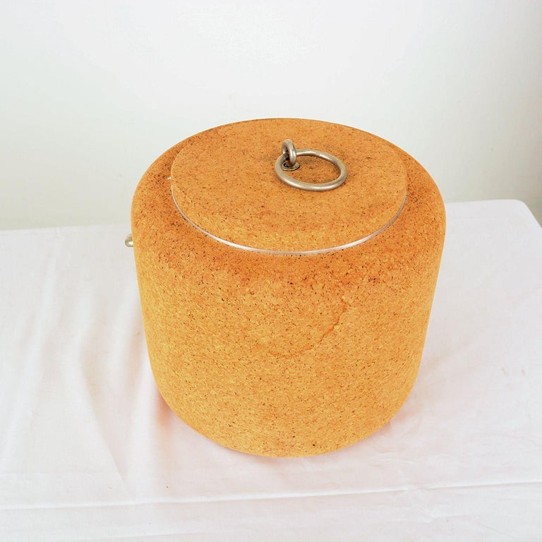 For your consideration: 1970s modernist cork ice bucket designed by Signe Persson Melin for the company Boda Nova. Made in Sweden, circa 1970s. The inner aluminum container is covered with a cork insulating layer. Original preowned fair vintage