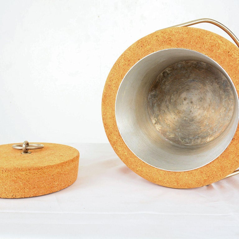 Modernist Cork Ice Bucket by Signe Persson-Melin for Boda Nova, Sweden, 1970s In Fair Condition For Sale In National City, CA