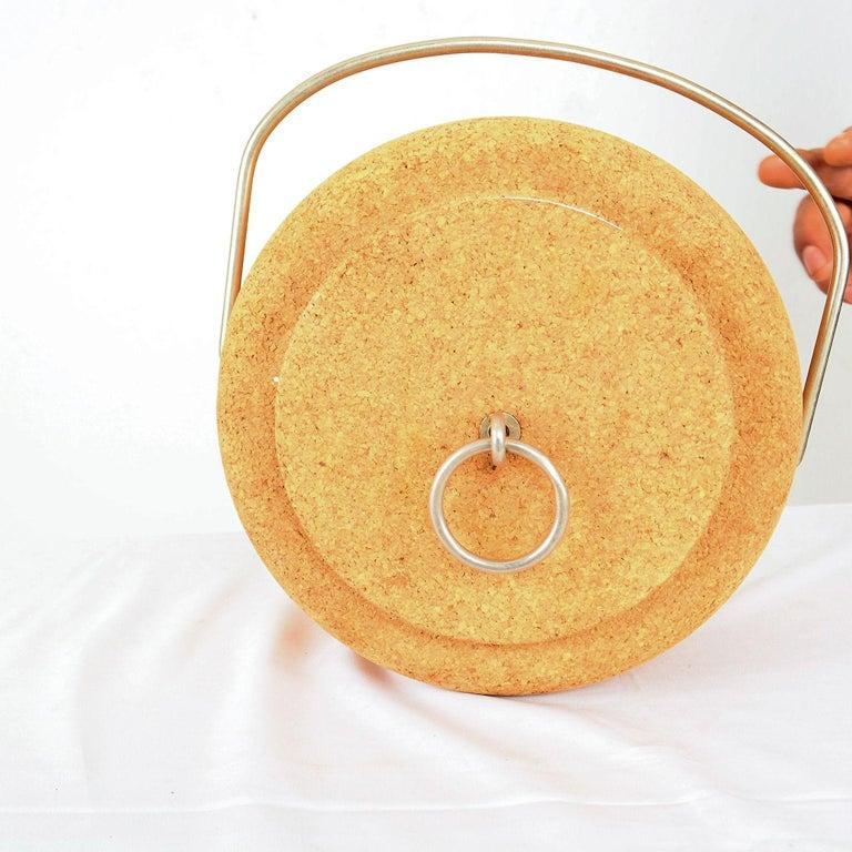 Modernist Cork Ice Bucket by Signe Persson-Melin for Boda Nova, Sweden, 1970s For Sale 1