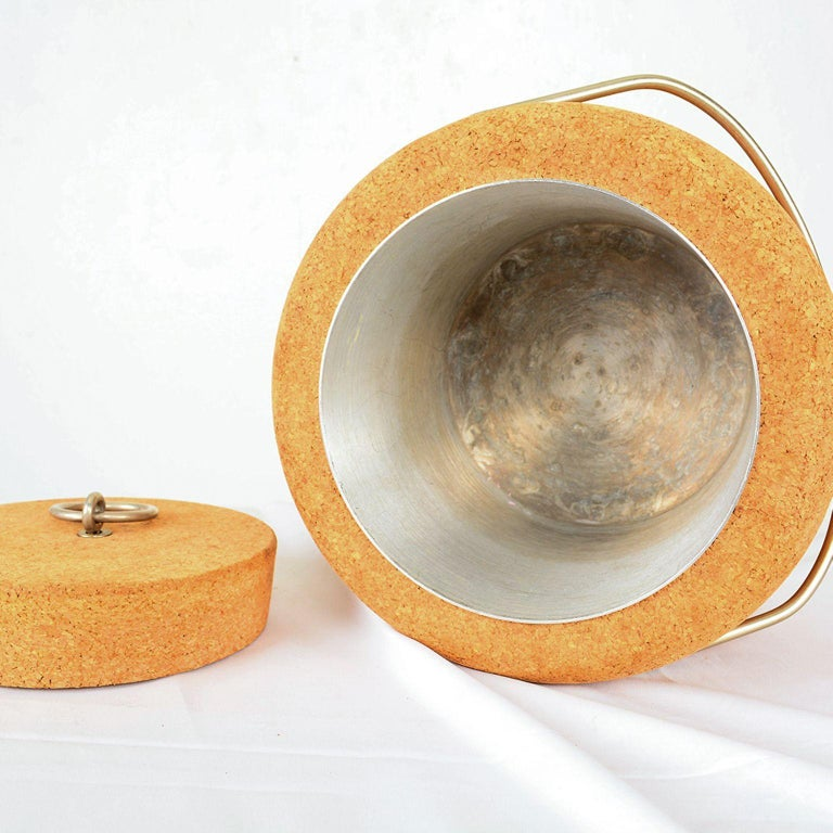 Modernist Cork Ice Bucket by Signe Persson-Melin for Boda Nova, Sweden, 1970s For Sale 2