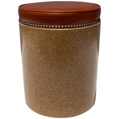 Cork Side Table / Stool in Vintaged Cognac Leather