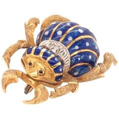 Corletto Blue Enamel Diamond Yellow Gold Beetle Bug Brooch Pin