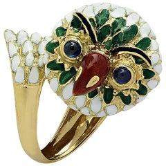 Corletto Enamel Sapphire Yellow Gold Owl Ring