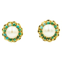 Corletto Italy Cultured Pearl and Turquoise Flower Yellow Gold Button Earrings