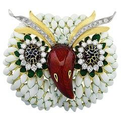 Corletto Italy Enamel and Diamond Owl Brooch Pin