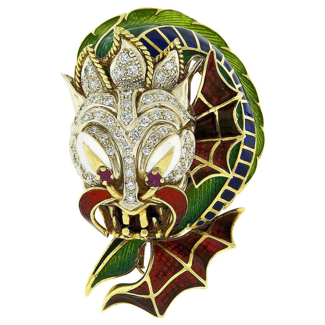 Corletto Large 18 Karat Gold 2.05 Carat Diamond Ruby & Enamel Dragon Brooch Pin