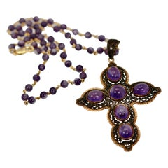 Corletto Yellow Gold Blacken Amethyst Cross with Amethyst Beaded Chain 15.34