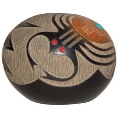 Corn Moquino Native American Santa Clara Pueblo Potter, Blackware Seed Pot