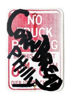 """Cornbread Philly No Truck Parking"", Street Art, Distressed Vintage Street Sign"