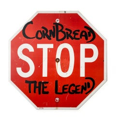 """Cornbread the Legend Stop Sign"", Street Art, Graffiti, Vintage Retro Sign"