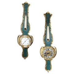 Corne Verte Pair of Louis XV Banjo Barometer / Clock