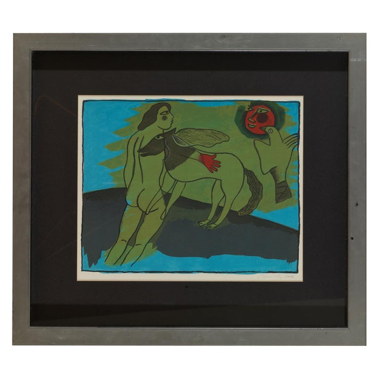 Corneille Guillaume, Naked Man with Animals, Lithography For Sale