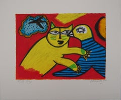Cat and Bird in Love - Original handsigned lithograph