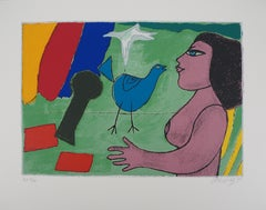 Dreaming Nude and Blue Bird - Original handsigned lithograph