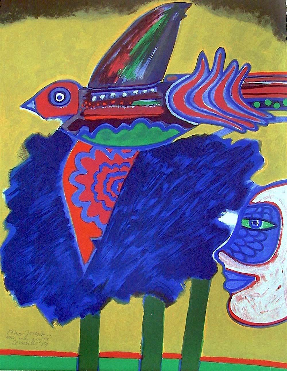 L' Arbre à L'Oiseau Signed Lithograph, Exotic Bird, Trees, Face, CoBra Artist