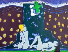 LA TOUR, LA NUIT, LE JOUR Signed Lithograph, Female Nudes, Starry Sky Landscape