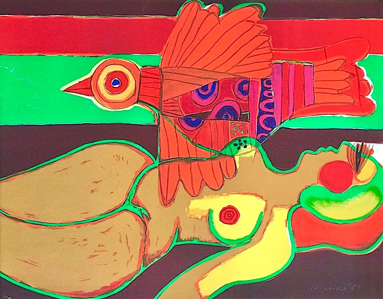 LE VOYAGE de L'OISEAU Signed Lithograph, Reclining Nude, Exotic Orange Bird