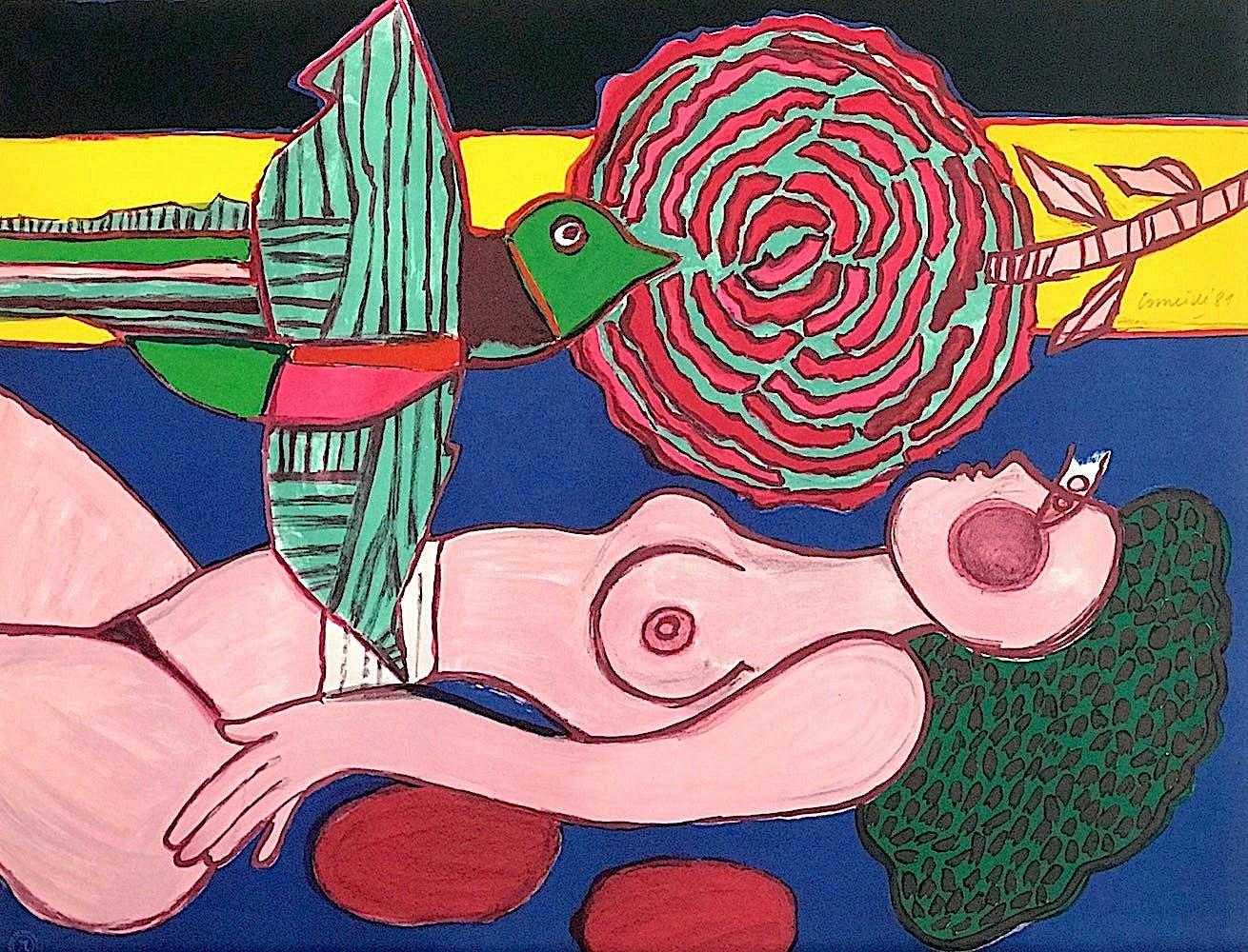 NU À LA ROSE Signed Hand Drawn Lithograph, Pink Female Nude, Exotic Bird w Rose