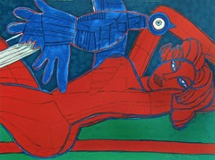 Nu Rouge Á L'Oiseau, Hand Drawn Lithograph, Red Female Nude, Exotic Blue Bird