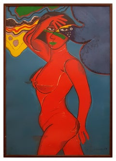 Nude - Original Lithograph by Corneille - 1989