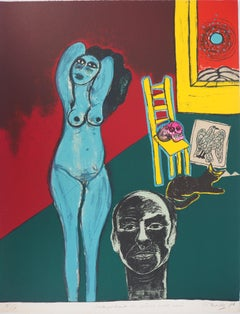 Selfportrait with Blue Nude and Mexican Skull - Original handsigned lithograph