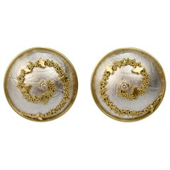 Cornelia Goldsmith Granulated High Karat Gold, Silver and Diamond Round Earrings