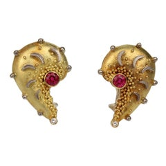 Cornelia Goldsmith High Karat Gold, Ruby and Diamond Earrings