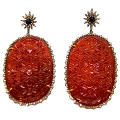 Cornelian and Diamond Star Dangle Earrings