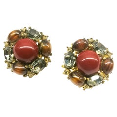 Cornelian, brown and grey paste cabuchon 'cluster' earrings, Ciner, USA, 1980s