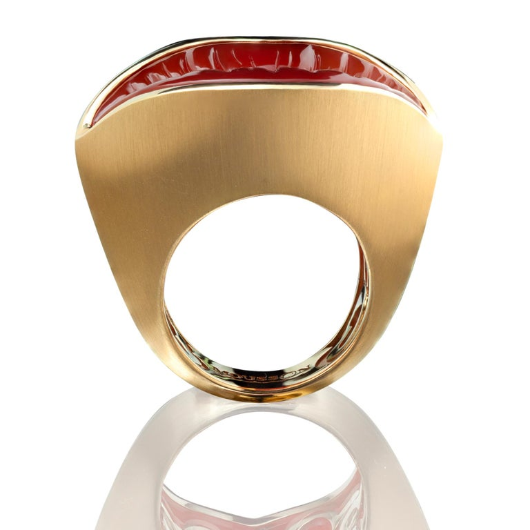 Oval Cut Kiss Me Baby  Carnelian Diamond Gold Ring For Sale