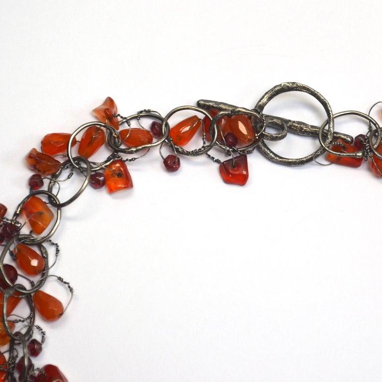 Contemporary Cornelian & Garnet Handmade Chain Necklace by Disa Allsopp For Sale