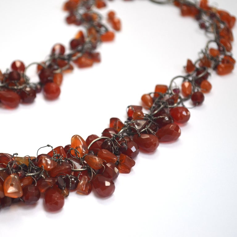 Cornelian & Garnet Handmade Chain Necklace by Disa Allsopp In New Condition For Sale In London, GB