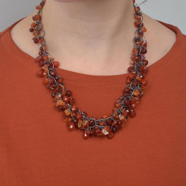 Women's or Men's Cornelian & Garnet Handmade Chain Necklace by Disa Allsopp For Sale
