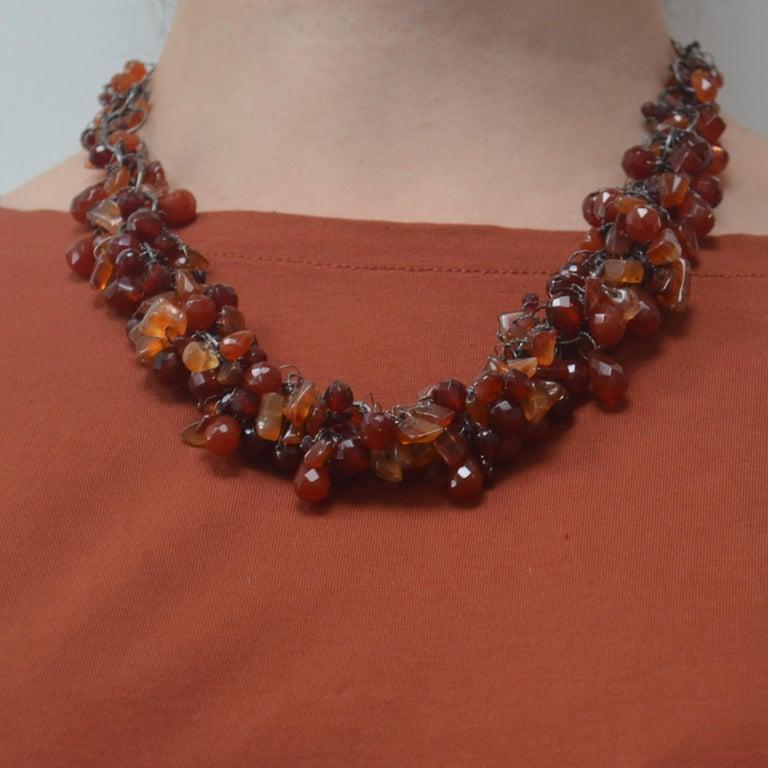 Cornelian & Garnet Handmade Chain Necklace by Disa Allsopp For Sale 1