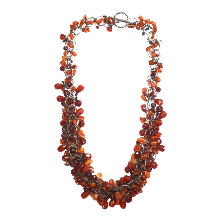 Cornelian & Garnet Handmade Chain Necklace by Disa Allsopp For Sale