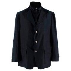 Corneliani Black Men's High Neck Tailored Coat - Size XXXL EU 60