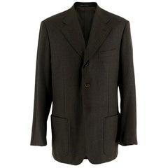 Corneliani Brown/Grey Wool & Cashmere Single Breasted Blazer - Size L EU50