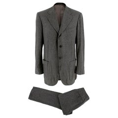 Corneliani Men's Grey Virgin Wool Single Breasted Suit - Size Large 50 8 R