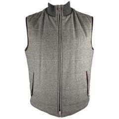 CORNELIANI Size 44 Gray Quilted Virgin Wool Zip Up Reversible Vest