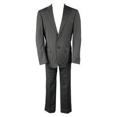 CORNELIANI Super 120's Size 38 Regular Charcoal Stripe Wool Notch Lapel Suit