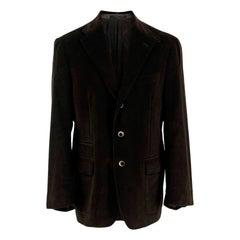 Corneliani Velvet Dark Brown Single Breasted Blazer - US size 40