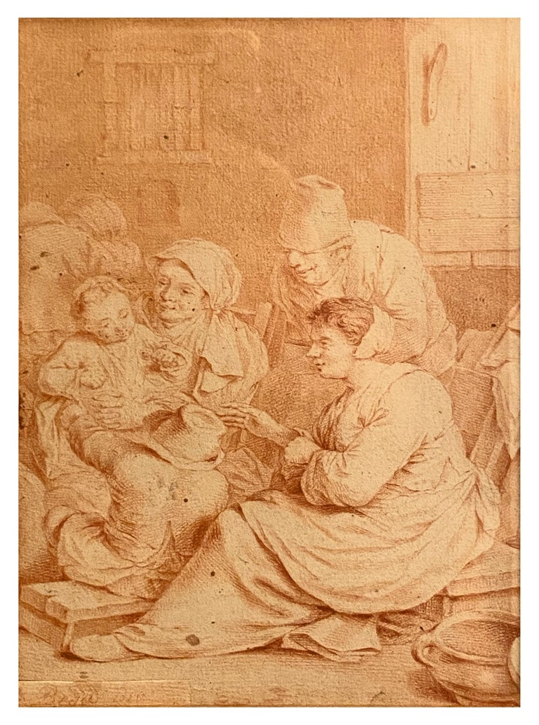Peasant Family, Cornelis Bega. Dutch Golden age painter and engraver. - Dutch School Painting by Cornelis Bega