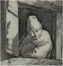 """Man Looking Through Window,"" Original Etching signed by Cornelis-Pietersz Bega"