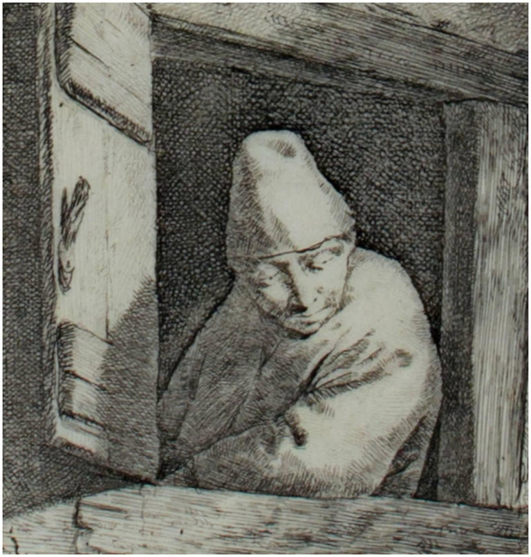 "Cornelis Bega Figurative Print - ""Man Looking Through Window,"" Original Etching signed by Cornelis-Pietersz Bega"