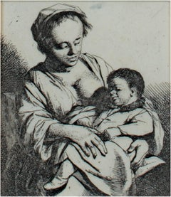 """Mother & Child,"" Original Etching Portrait by Cornelis-Pietersz Bega"