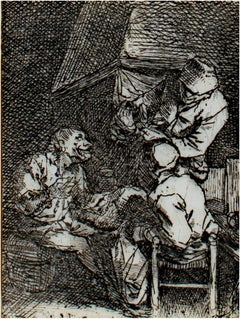 """The Conversation,"" original etching by Cornelis-Pietersz Bega"