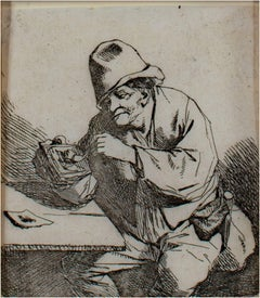 """The Pipe Smoker,"" Original Etching Portrait by Cornelis-Pietersz Bega"